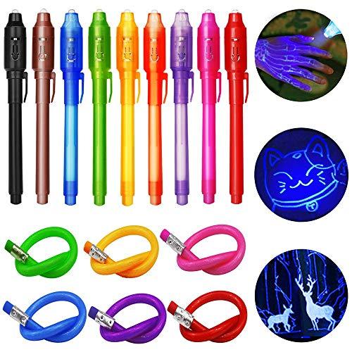 TAGVO 9 Geheimstifte Geheim Stift mit UV Licht + 6 Biegebleistifte Unsichtbar Schreiben Mitgebsel und Spielzeug Fuer Kinder Gastgeschenke Kindergeburtstag für Jungen Mädchen -