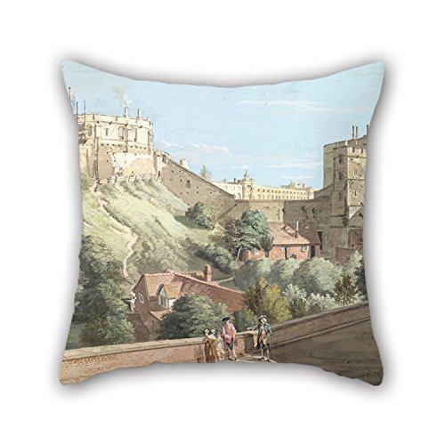 beautifulseason The Oil Painting Paul Sandby - Windsor Castle- The Round Tower, Royal Court and Devil's Tower from The Black Rod Throw Pillow Case of,16 X 16 Inches/40 by 40 cm Decoration,Gift Fo Castle Court Castle