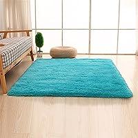 Alfombras, CAMAL Lavable Material de Lana de Seda Artificial Alfombra Decorativo Sala de Estar y Dormitorio (80cmX120cm, Azul)