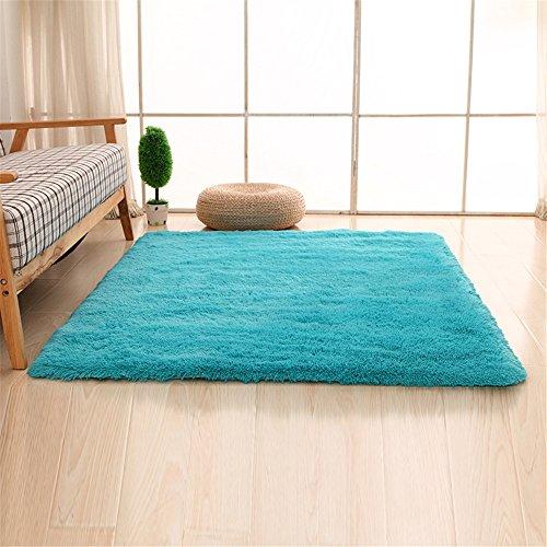 Alfombras, CAMAL Lavable Material de Lana de Seda Artificial Alfombra Decorativo Sala de Estar y Dormitorio (120cmX160cm, Azul)
