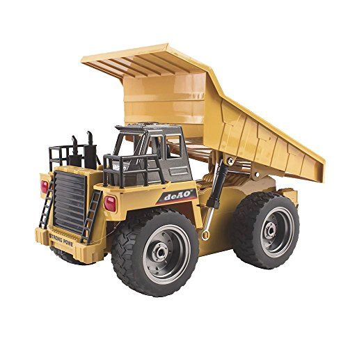 deAO RC Remote Control Construction Truck with 2.4GHz Sync System for Multi Player Mode (Tipper Truck)