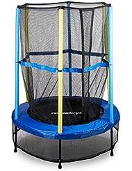 Relaxdays Trampolin Kinder, Sicherheitsnetz, Bungeefederung, Outdoor HxBxT: 153 x 153 x 172 cm, blau-schwarz-gelb