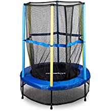 Relaxdays Trampolin Kinder, Sicherheitsnetz, Bungeefederung, Outdoor HxBxT: 172 x 143 x 143 cm, Blau-Schwarz-Gelb