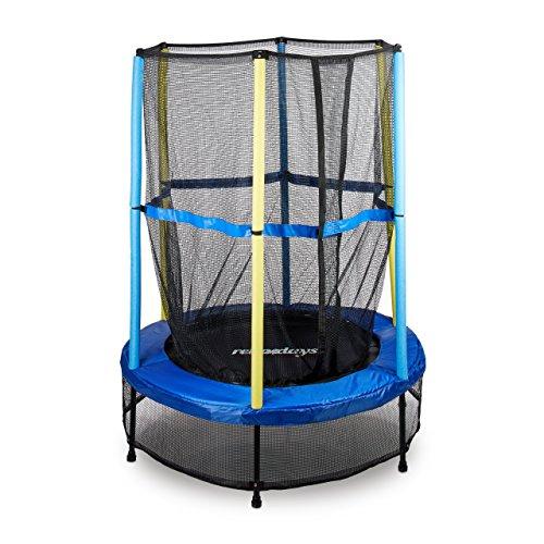 *Relaxdays Trampolin Kinder, Sicherheitsnetz, Bungeefederung, Outdoor HxBxT: 172 x 143 x 143 cm, blau-schwarz-gelb*
