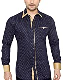 GlobalRang Men's Cotton Casual Polka Printed Shirt (Small)