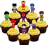 Paquete de fiesta de superhéroes. Cobertura para cupcakes comestible. Decoración para tartas en oblea comestible , Pack of 36