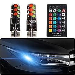 FEZZ T10 W5W LED Lampadine LED per Auto Telecomando RGB 194 168 501 Strobe Lettura Luci Interne Indicatori Laterali