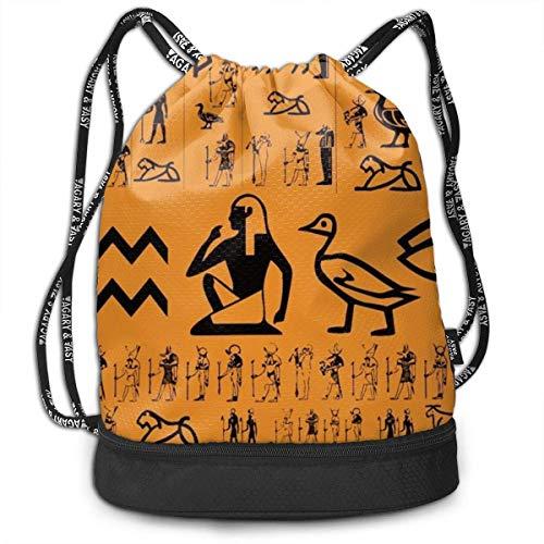 Lässige Kordelzugbeutel Ancient Egypt Clipart Orange Sackpack mit Fach, Faltbarer Rucksack mit Kordelzug für Männer Frauen Mädchen Jungen Studenten Teens