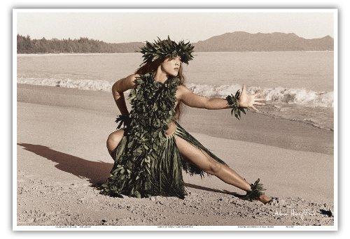 Pacifica Island Art Tanz Der Honu (Schildkröte) - Hawaiisch Hula-Tänzerin von Alan Houghton - hawaiianischer Kunstdruck - 33cm x 48cm