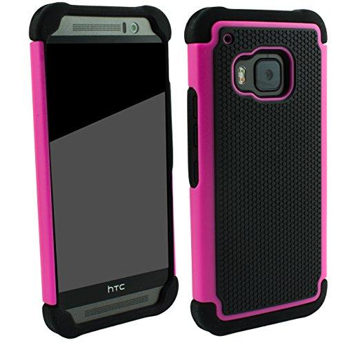 Outdoorschutzhülle für HTC ONE M9 Case pink inkl. Panzerglas 9H Outdoor Cover Hybrid Schutz Hülle Sturz Bumper Folie Schwarz Black