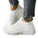 ORANDESIGNE Damen Stricken Sneaker Sportschuhe Leichte Atmungsaktive Turnschuhe Slip-on Walking Schuhe Socks Schuhe B Weiß 36 EU