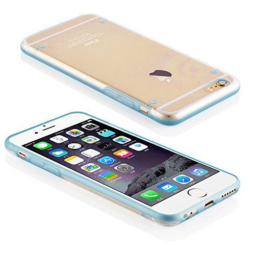 Cadorabo - Ultra Slim (0,5mm) TPU Silikon Schutzhülle passen für >            Apple iPhone 6 / 6S            < - Case Cover Schutzhülle Bumper in ZART-ROSA MARINE-BLAU