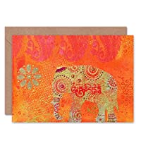 Wee Blue Coo Indian Elephant Colourful Greeting Card