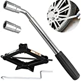 AutoFu Tyre Repair Tools Kit Wrench and Scissor Jack 2 Ton with Speed Handle for Cars/Caravans/Honda Jazz/Audi/BMW/Benz/Ford - Lift Jacks 5-Year Guarantee (Wrench + 2Ton Jack)