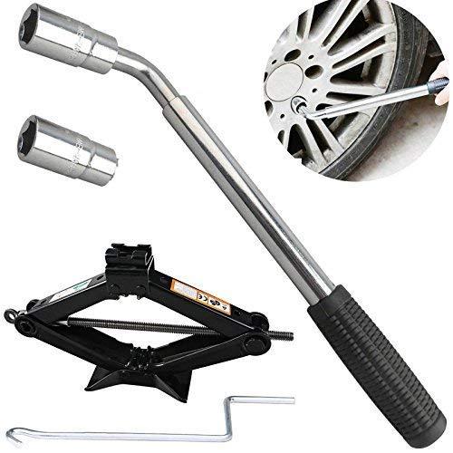 Cric auto con capacità 2tonnellate con manovella per auto/camper/Honda Jazz/Audi/BMW/Benz/Ford–Kit di strumenti di riparazione pneumatici e cric (alta qualità)