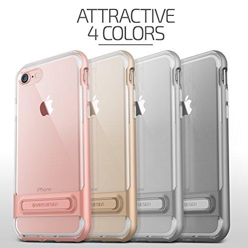 VRS Design® Apple iPhone 7 / 8 Crystal Hülle mit [ Easy Stand-Funktion & Kameraschutz ] 2 teilige PC / TPU Silikon Schutzhülle Light Silver | Transparent Ultra Slim Cover | dünn | Back-Case Bumper Steel Silver