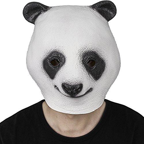 Panda Maske, Cusfull Süß Latex Pandamaske Panda Headmaske Kopfmaske Tiermaske Erwachsenen Kostüm Zubehör für Halloween Fasching Karneval (Latex Deluxe Maske Panda)