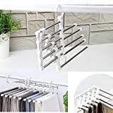 #9: CONNECTWIDE® Adjustable Multipurpose Hanger- stainless steel multi-functional retractable drying trousers wardrobe multilayer hanging trousers pants storage rack- Trousers Pants Jeans Scarf Clothes Hanger Double Hook Rack Organizer.(1 Pc)