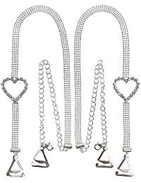 VN Trends - Tirantes para Sujetador con Diamantes de imitación, 4 Filas con Detalle de corazón, Correas Decorativas para Sujetador, 1 par