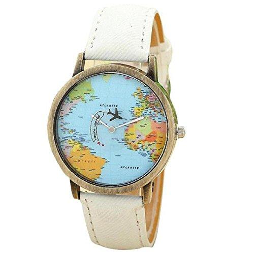 donna orologio, FEITONG nuovo viaggio globale di aereo mappa denim tessuto banda orologio (bianca)