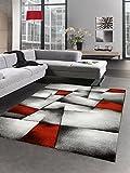Modern Tapis Poil Ras Tapis de Salon résumé Karo Noir Gris Blanc Rouge Größe 160x230 cm