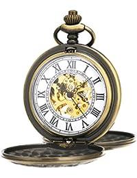 ManChDa® Reloj de Bolsillo de época para Hombre Mujer Doble Hunter Grabado Esqueleto Movimiento mecánico Oro/Bronce Plata/Negro/Números Romanos con Cadena + Caja de Regalo