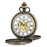 ManChDa® Retro Handaufzug mechanische Taschenuhr Skelett Uhr graviert Metall Römische ZahlenDoppel Jäger Bronze + Geschenk-Box …