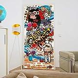 murimage Papier Peint Porte Graffiti 86 x 200 cm photo mural Brique Pierre Coloré Jeunesse chambre Enfants Rustique wallpaper colle inclus