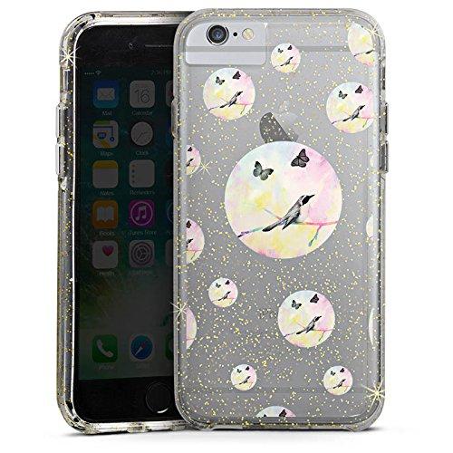 Apple iPhone 7 Bumper Hülle Bumper Case Glitzer Hülle Transparent mit Muster Vogel Punkte Schmetterling Bumper Case Glitzer gold