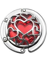 MagiDeal Gancho de Bolso Colgante de Bolsa de Mano Mesa de Escritorio Cristal Diseño de Corazón