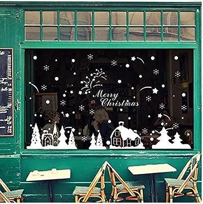 Koedu Lovely White Christmas Deer Wall Sticker for Window Home Decor