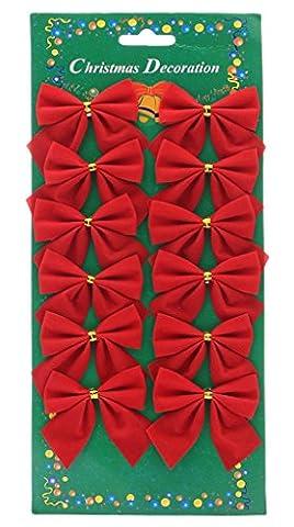 Y-BOA 12PC Nœud Tissu Décoration Cadeau Noël Papillon Décor Sapin