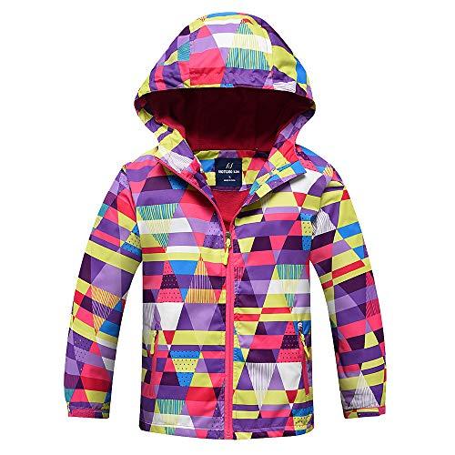 Mädchen Jacke mit Fleecefütterung warm wasserdicht Winddicht atmungsaktiv Kinder Regenjacke Übergangsjacke Wanderjacke Herbst Rosa 110