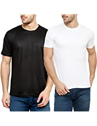 Grand Bear Round Neck Polyester T-shirt For Men Pack Of 2(Black & White)