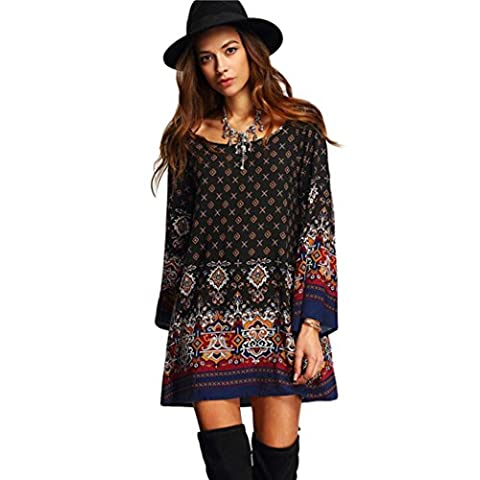 FEITONG Manches longues Mode féminine Casual and Loose Party Vintage Beach Dress Casual Vestidos - Noir/multicolore - Taille L