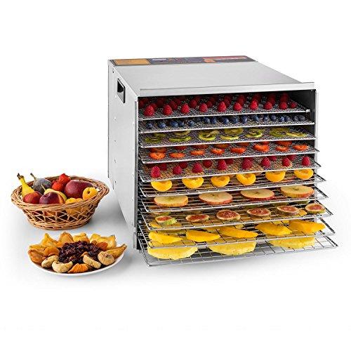 Klarstein Fruit Jerky Pro 10 Dörrgerät Dörrautomat (10 Etagen mit je 40 x 36 cm Trockenfläche, 1000 Watt, einstellbare Temperatur, Timer, Edelstahl-Gehäuse) silber