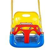 Profun 3-in-1 Schaukel für Säugling und Kinder ab 6 Monate mehrfarbrige Kombination mit Sicherheitsgurt und Karabinerhaken Outdoor Kinderschaukel