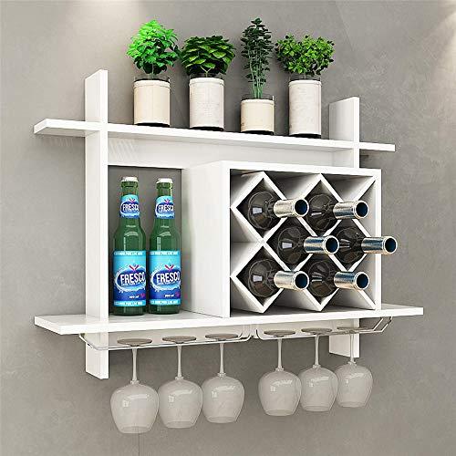 LARRY SHELL Wand montiert Wein Rack Organizer, Flasche Glas Halter Bar Zubehör Regal Wein Lagerung Display Regal, für Zu Hause, Küche, Esszimmer -
