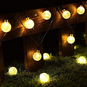 CMYK® Solar Betrieben 30LED-Lichterkette Licht mit Kristall Ball, Ambiente Beleuchtung, ideal für den Außenbereich in Terrasse, Weg, Garten, Innenbereich in Party, Schlafzimmer Decor (Warm Weiß)