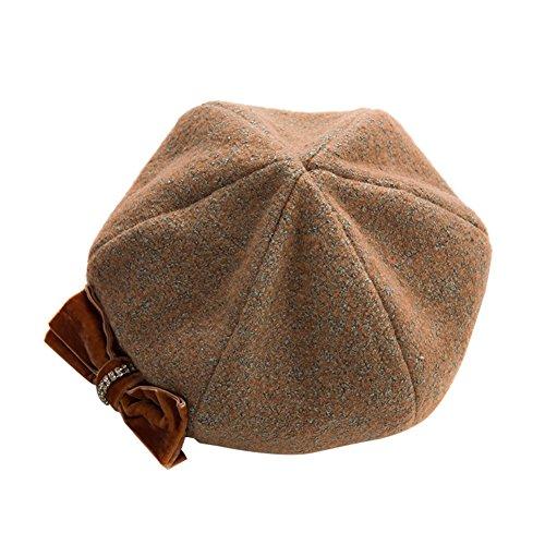 Beret/Automne hiver strass laine s'incliner bouchon octogonal/Chapeau de jazz britannique littéraire A