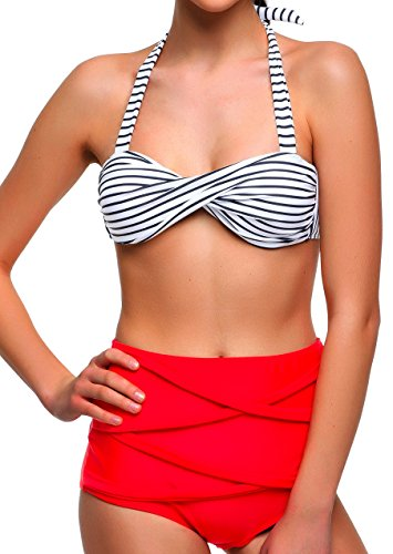 Angerella traje de baño Bikini para mujer Vintage polca punteado cintura anta (BKI033-R1-2XL)