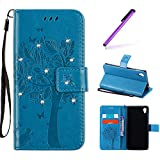 Funda Sony Xperia M4 Aqua,Funda Libro Suave PU Leather Cuero - EMAXELERS Carcasa Con Flip case cover,Funda Sony Xperia M4 Aqua Diamantes Deseando el árbol que graba diseño Flip case cover,Cierre Magnético, wallet Case para Sony Xperia M4 Aqua,Función stand de Soporte,Billetera con Tapa para Tarjetas-Diseño de Mariposa y flor de la vid para Sony Xperia M4 Aqua Business Card holder + stand function, with 1 x Stylus Pen Blue Wishing Tree with Diamond