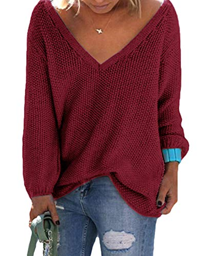 YOINS Strickpullover Damen Pullover Winter V Ausschnitt Sexy Oberteil Damen Oberteile Elegant Rot EU36-38