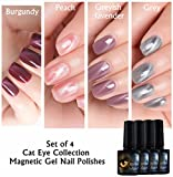 Joligel Set 4x Esmaltes Permanentes Magnéticos Uñas, Gel Shellac UV LED Efecto Ojo Gato 3D para Manicura Nail Art, Rojo burdeos / Rosa melocotón / Lavanda grisáceo / Gris