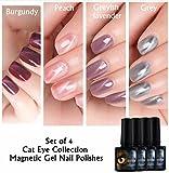 Magnetische ständigen joligel Set 4x Stamping Maniküre, Nagellack Gel Shellac UV LED Effekt Auge Katze 3d Nail Art, rot bordeaux/pink Pfirsich/Lavendel graublau/grau