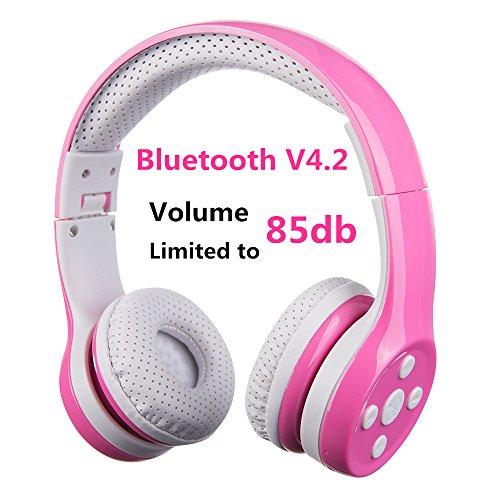 Auriculares Bluetooth para niños, Hisonic Auriculares Plegable para niños con volumen limitado compatible con iPhone ,iPad mini, iPad ,PC ,MP3 y más dispositivos Bluetooth, regalo perfecto para los niños (Rosa)