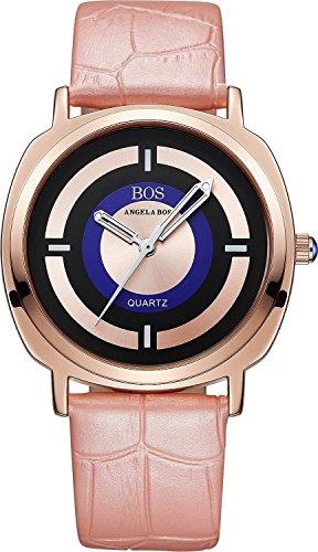 Angela Bos para mujer reloj de cuarzo japonés Anolog Luminated piel para muñeca puntero 8007 Cierre magnético de la Alianza rosa