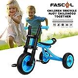 Fascol Bambini Regolabili a Tre Ruote Altezza del Sedile Triciclo Peso Massimo 25 kg Golden Triangle Passeggino per Bambini 2-5 Anni (Blu)