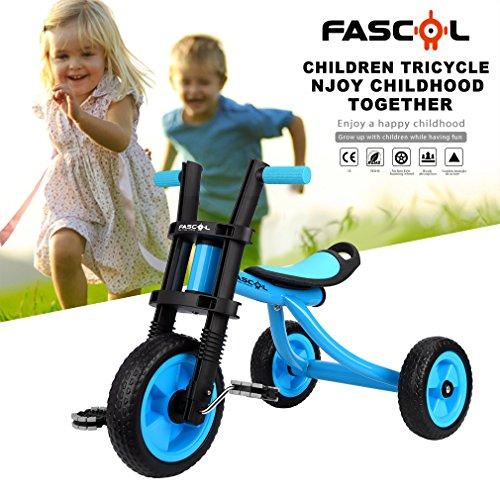 Fascol Triciclo Classic Para Niños 2-5 Años De Aluminio Bicicleta De Tres Ruedas + ABS + Titanio Inflable Vacío Rueda De Color(Azul)