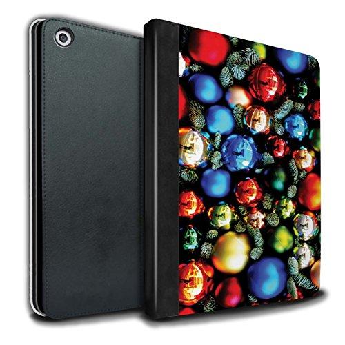 Stuff4® PU-Leder Hülle/Case/Brieftasche für Apple iPad 9.7 (2017) Tablet/Baum Dekorationen Muster/Weihnachten Foto Kollektion (Weihnachten Baum Dekorationen)